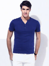 Trendamo Cotton Half Sleeve V-Neck Henley Blue T-Shirt for Men