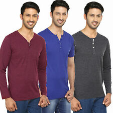 Trendamo combo of 3 Henley round v neck full half sleeves cotton t shirt for men