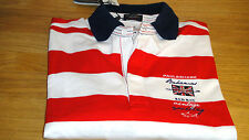 New Paul and Shark Rugby Shirt Long sleeve White & Red Bahamas Size L & XL WOW!!