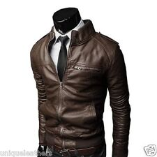 100% Genuine Lambskin Leather Designer Biker Jacket Blazer Men's - Black #WLJ002