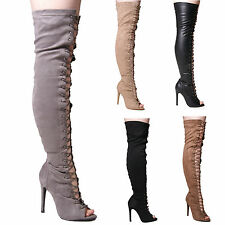 LADIES WOMENS THIGH HIGH LACE UP SLIM HEEL PARTY EVENING FASHION STYLE SHOES 3-8
