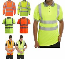 Hi Viz High Visibility Polo Shirt Reflective Vis Tape Security Safety Work  Top
