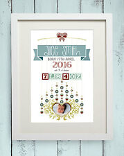 Personalised New Born Baby Photo Picture Gift Christening Baptism Keepsake