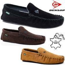 Mens Real Leather Moccasins Slippers New Dunlop Sheepskin Fur Warm Winter Shoes