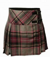 Scottish Tartan Wear Skirt Highland Ladies Grey Purple LA Check Wool Kilt