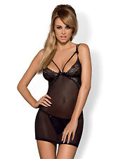 OBSESSIVE Intensa Luxury Super Soft Sheer Chemise and Matching Thong Set