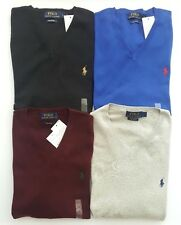 Polo Ralph Lauren Mens Pima Cotton V Neck Jumper Sweater - M L RRP £110