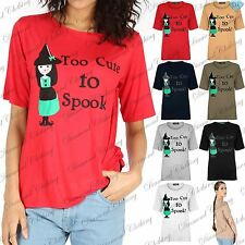 Womens Halloween T Shirt Too Cute To Spook Lady Cap Sleeve Baggy Oversize Top