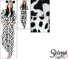Ladies Cow Dog Fleece Hooded Onesie And Ears All In One Black White Size 8-22