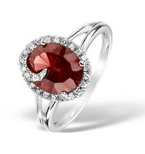 9k White Gold Diamond and Garnet Ring
