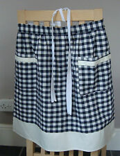 DEEP NAVY BLUE AND WHITE GINGHAM DESIGN HALF APRON / PINNY