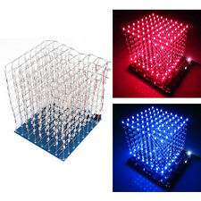 3D Squared DIY Kit 8x8x8 3mm LED Cube White LED Blue/Red Light PCB Board WL