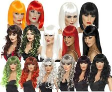 Halloween Wigs Fancy Dress Long Short Black White Red Orange Horror Dark Party
