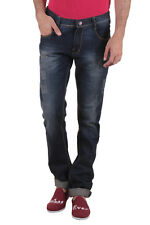 Routeen Blue Distressed Mid Rise Slim Fit Branded Jeans for Men(JRMDSTNL214S1RB)