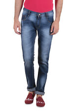 Routeen Blue Washed Slim Fit Mid Rise Cotton Jeans (JRMVENWHNL217S2DB)