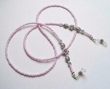 Pretty Pale Pearly Pink BEADED SPECTACLE CHAIN READING GLASSES HOLDER UK