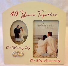 40th / 50th / 60th Wedding Anniversary Double Photo Frame, Amore by Julianna Box