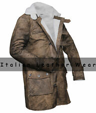 Real Cowhide Batman Dark Knight Rises Distressed Brown Tom Hardy Bane Fur Coat