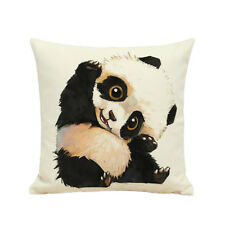Pillow Cover Cushion Case Panda Animal Printed Linen Throw Room Bed Car Décor