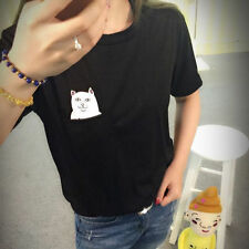 Funny Middle Finger Pocket Cartoon Cat T shirt Summer Short Sleeve Casual Top