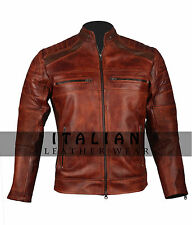 Men Motorcycle Biker Cafe Racer Brown Vintage Distressed Waxed Leather Jacket