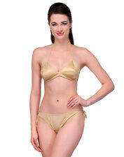 Urbaano  Honeymoon Satin Bikini Bra & Panty Set -set - Golden - UR6092S