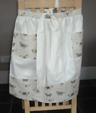 CREAM WITH MULIT COLOURED BUTTERFLIES DESIGN HALF APRON / PINNY
