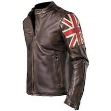 UK Flag Cafe Racer Antique Brown Brando Style Genuine Leather Biker Jacket HQ