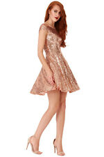 NEW SHORT SEXY SLEEVELESS GOLD SEQUIN SKATER PROM FORMAL EVE PARTY DRESS(8-12)