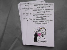 20,30,40, or more Wedding Poems asking for Money Bride & Groom  Pink free P&P