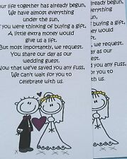 20,30,40,50 or more Wedding Poems asking for Money Bride & Groom Purple
