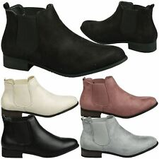 Emma Womens Pull On Low Heels Chelsea Ankle Boots Smart Ladies Pixie Shoes Size