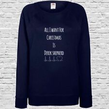 Grey's Anatomy Printed Ladies Sweatshirt - All I Want For Xmas Is Derek Shepard