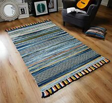 STRIPED BLUE MULTI Colour Cotton KILIM Handwoven Rug Runner Cushion S-L -30%OFF