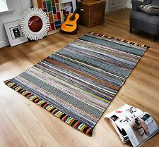 STRIPED CHARCOAL GREY MULTI Colour Cotton KILIM Handwoven Rug Runner Cushion -%%