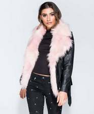 Parisian Black Leather Look Faux Fur Biker Party Jacket Coat