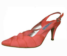 Ladies Wedding Party Heel Shoe Evening Shoes Diamante Coral Orange Satin NEW