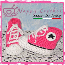 CROCHET BABY SHOES DELUXE ALL STAR CONVERSE SCARPINE A UNCINETTO BIMBA FUCSIA