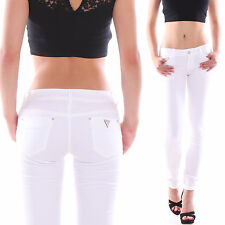 Pantalon Jeans Pour Femme Tube Taille Basse Coupe Skinny Stretch Slim W14
