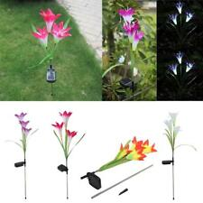 Outdoor Solar Power Lily LED Garden Yard Stake Path Lamp Night Light 4 Colors