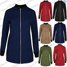 Womens Ladies Contrast Collared Long Sleeve Suede Zip Up Longline Tunic Jacket