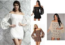 Women's  Sexy   Lace Off Shoulder Mini Dress Club Wear /Evening Dress