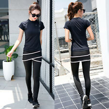 Women Short Sleeve Sports Fitness Yoga Tops Black T-Shirt/ Skirt Leggings Pants