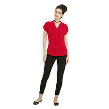 Identiti Womens Red Casual Solid Shirt (551-1793-27)