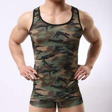 Mens Sleeveless Camouflage Tank Top Training Sports Tee Muscle Bodybuilding Tops
