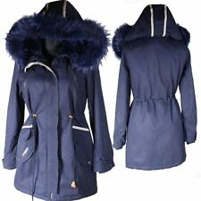 WINTER JACKE WARM GEFÜTTERT PARKA FELL KAPUZE 36 38 40 42 44 46 48 MANTEL L XL