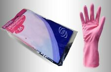 8 Pairs of FLOCK LINED Pink Household Rubber Latex Washing Up Cleaning Gloves