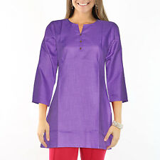 Dakshcraft Women's Dark Purple Cotton Short kurti