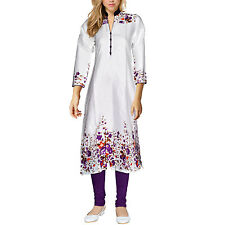 Dakshcraft Women's White Base Purple Floral Print Long Cotton Kurti
