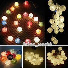 Cotton Balls String Fairy Lights Patio Christmas Party Wedding Battery Operated
